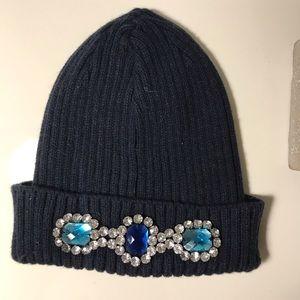 Topshop Navy Jeweled Beanie